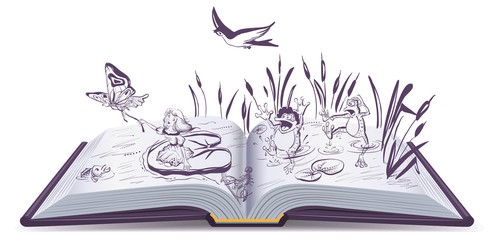 Open book tale Thumbelina