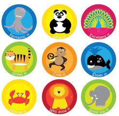 stickers set for children: well done, good job, excellent - motivational text