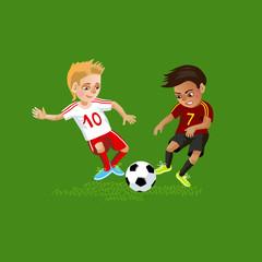 soccer kids fight for the ball