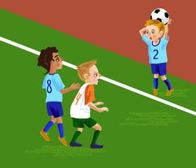 soccer kids throw the ball