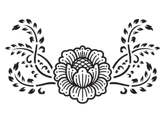 Line flower and creeping plant vector art design