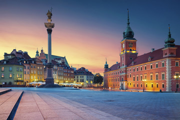 Warsaw. Image of Old Town Warsaw, Poland during sunset. Wall mural