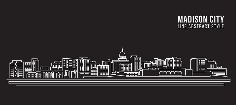 Cityscape Building Line art Vector Illustration design - Madison city