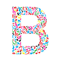 B letter made of colorful musical notes on white background. Alphabet for art school. Trendy font. Graphic decoration.