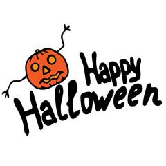 Happy halloween lettering with pumpkin