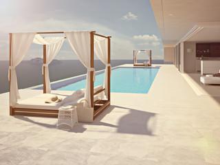 luxury swimming pool in santorini. color edit. 3d rendering