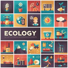 Ecology - modern flat design isquare icons