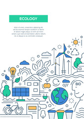 Ecology - line design brochure poster template A4