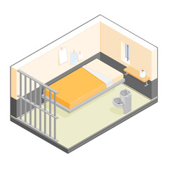 Isometric vector illustration of a small prison cell.