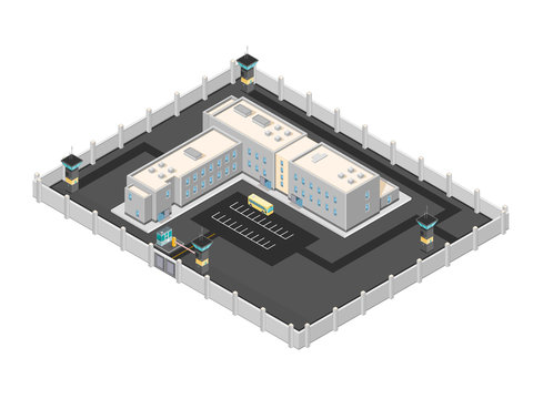 Isometric vector illustration of a contemporary Jail building. Large secure Penitentiary building.