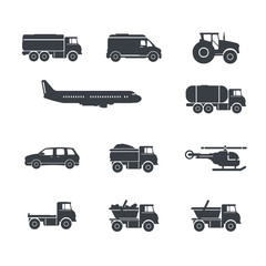 Vector illustration of transportation icon set.