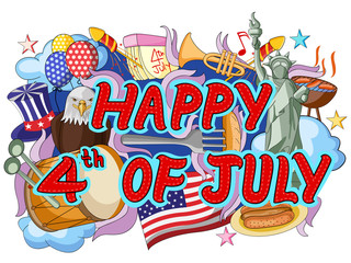 Happy Fourth of July doodle background