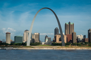 Downtown St. Louis from the Malcolm W. Martin Memorial Park in East St. Louis, Illinois