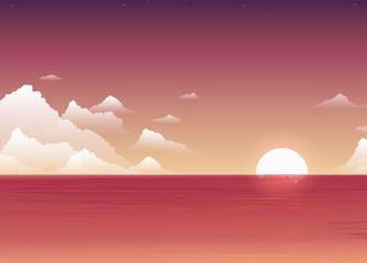 Sunset. Vector illustration. Landscape