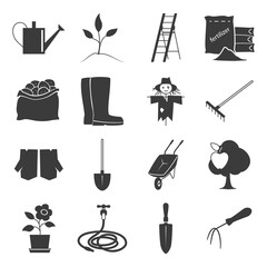 Set of Garden Tools, Icons Gardening Equipment , Silhouette Agricultural Tool , Vector Illustration