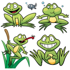 Vector illustration of Frog Set Cartoon
