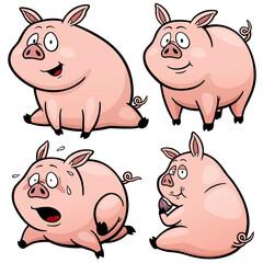 Vector illustration of Cartoon Pig Set