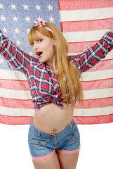 Sexy pin up girl isolated holding an American Flag