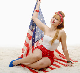 Sexy pin up girl with an American Flag
