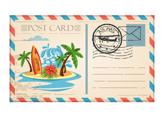 Vintage postcard travel surf wave with stamp air mail