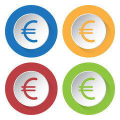 set of four icons - euro currency symbol