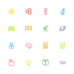 colorful line education and science icon set for web design, user interface (UI), infographic and mobile application (apps)