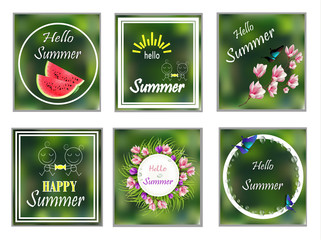 Hello summer. Cards set. Banners happy summer flowers. 6 picture