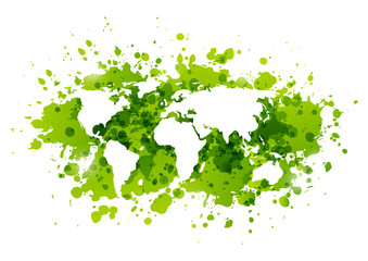 Ecology background with green paint splashes