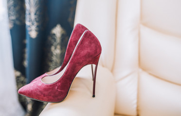 wedding red shoes is ready for bride's best day