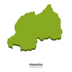 Isometric map of Rwanda detailed vector illustration