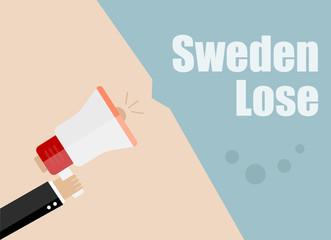 Sweden lose. Flat design vector business illustration concept Digital marketing business man holding megaphone for website and promotion banners.