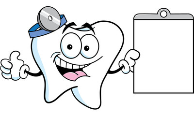 Cartoon illustration of a tooth holding a chart and giving thumbs up.