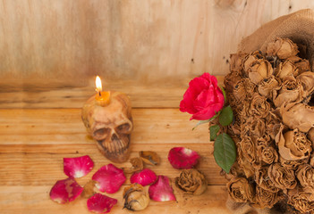 Red roses love romantic vintage abstract candles on the wooden f