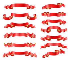 red ribbons set on white. vector illustration