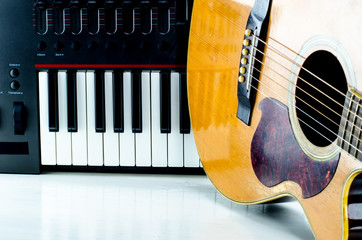 Acoustic guitar keyboard, close-up.