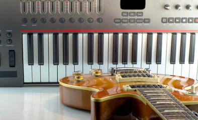 Electronic musical keyboard, close-up