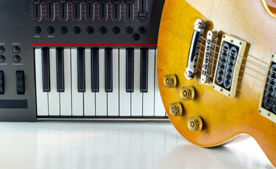 Electronic musical keyboard, close-up