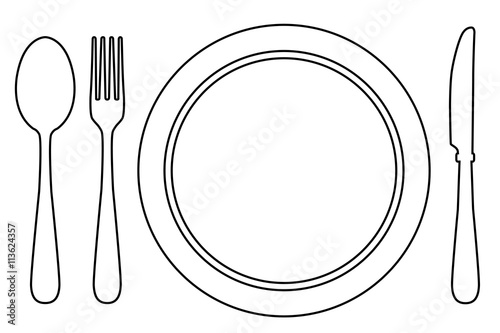 plate and fork coloring page