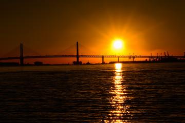 Sunrise view in pacific Ocean, Tokyo Bay, Yokohama Japan.