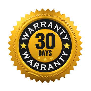 30 Days Warranty Sign. 3D rendering