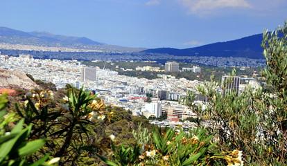Panorama-Ansicht Athens vom Lykavittos, dem Stadtberg der Hauptstadt