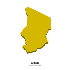 Isometric map of Chad detailed vector illustration