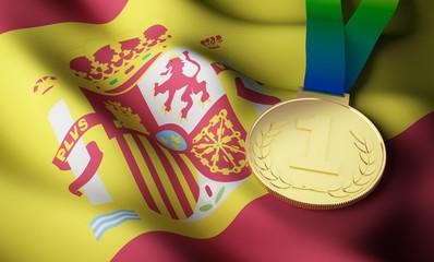 Spain flag, gold medal