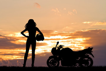 Fototapete - woman motorcyclist