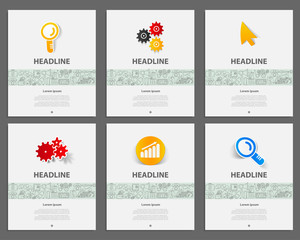 Corporate identity vector templates set with doodles business icons.