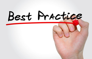 Hand writing Best Practice with marker, Business concept