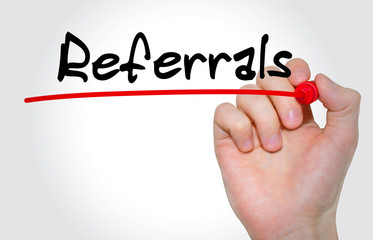 Hand writing Referrals with marker, Business and Internet concept