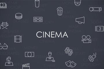Cinema Thin Line Icons