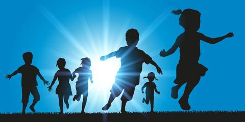 Enfants - Groupe - Courir