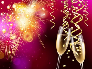 Two glasses of champagne, golden confetti and streamers on colorful fireworks background, illustration